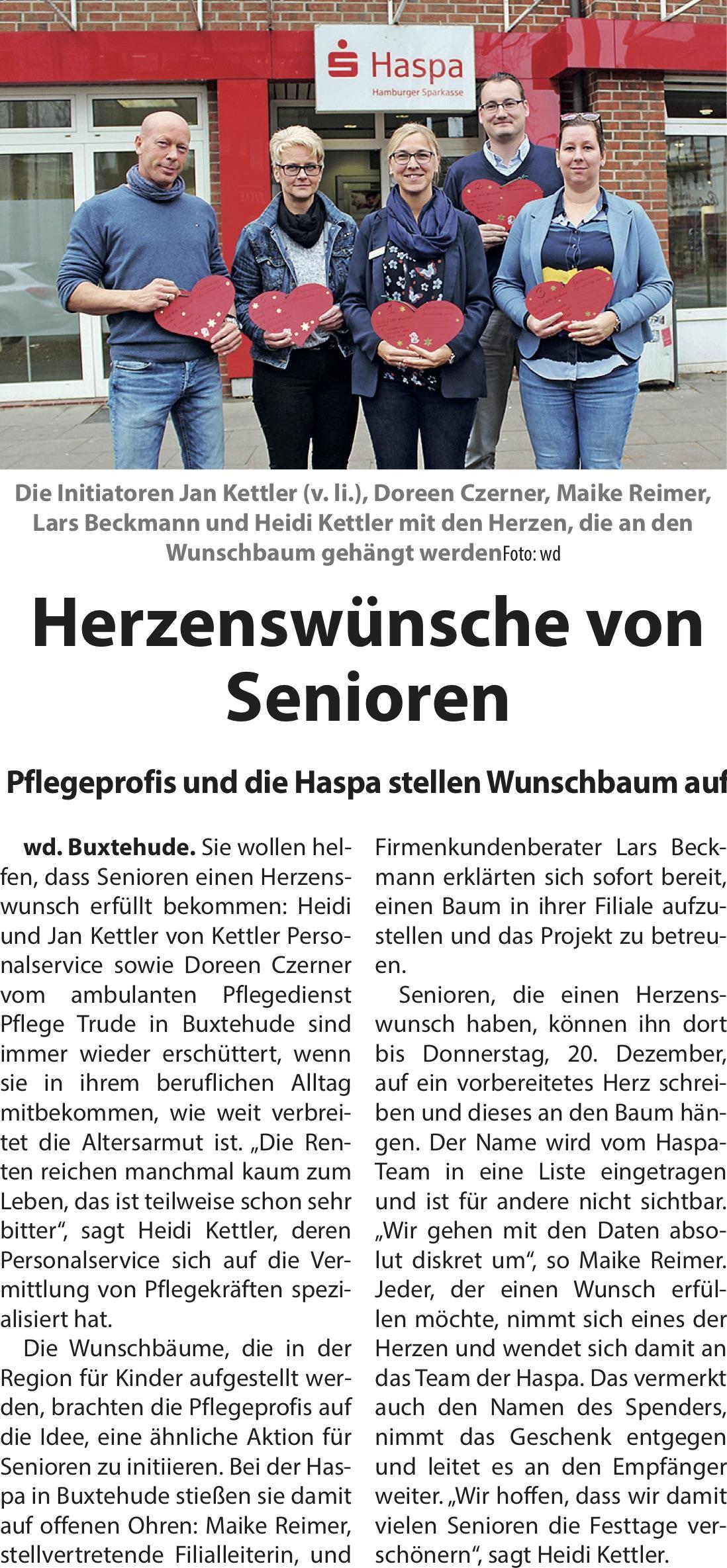 """Kettler Personalservice und Pflegetrude Initiatoren des """"Buxtehuder Wünschebaums"""" für Senioren."""